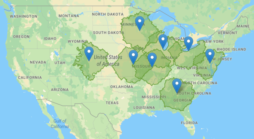 Map showing the coverage area of PCs for People in the U.S.